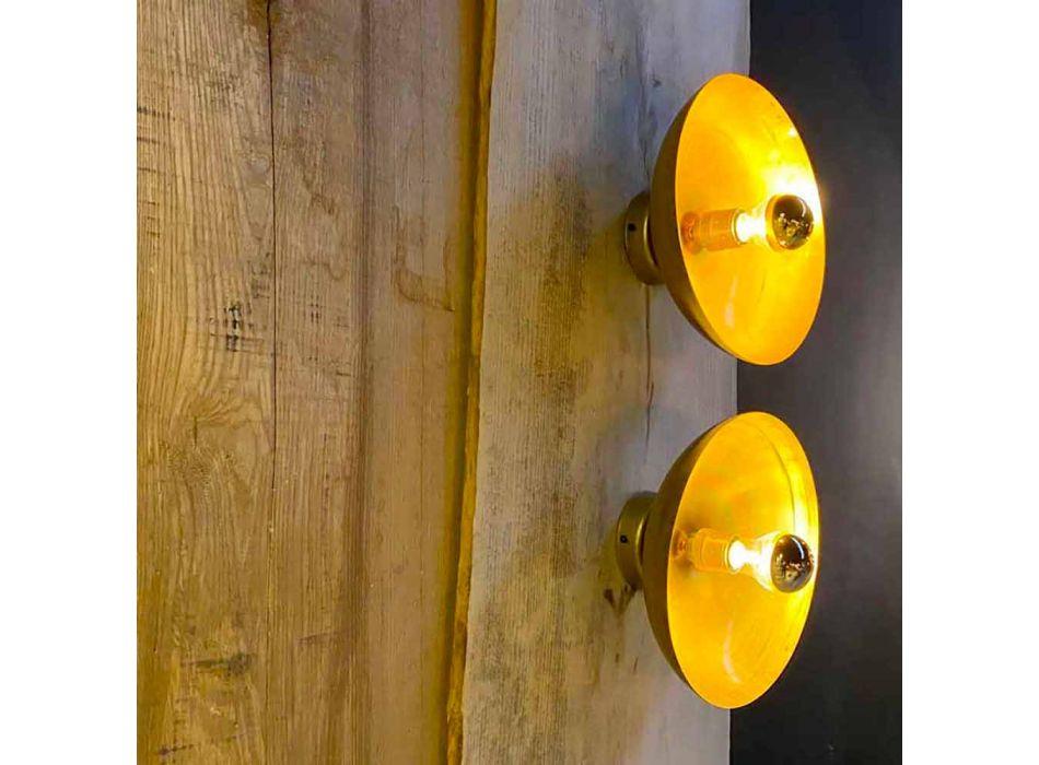 Applique murale Artisan ronde en laiton naturel avec LED Made in Italy - Salina