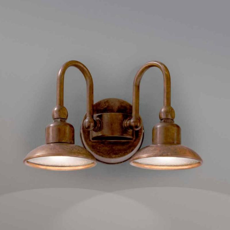 La lumière extérieure avec 2 lampes en laiton et le cuivre Bugatti
