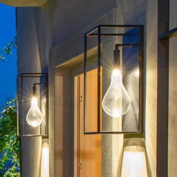 Applique d'extérieur en fer avec lumière LED chaude et verre Made in Italy - Falda