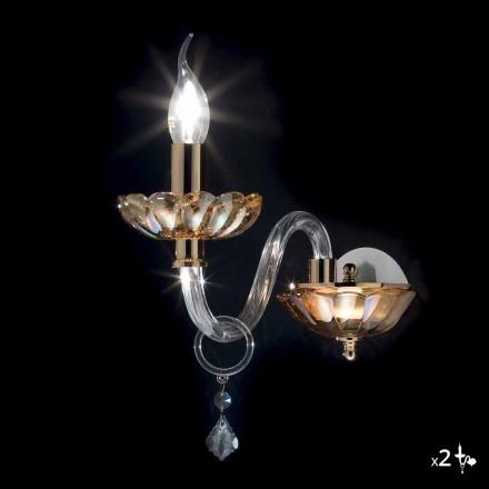 Applique de design classique en cristal et verre Belle, ensemble de 2