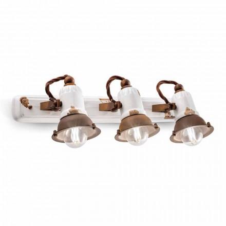 Applique design  trois spots orientables en céramique et métal Lacey
