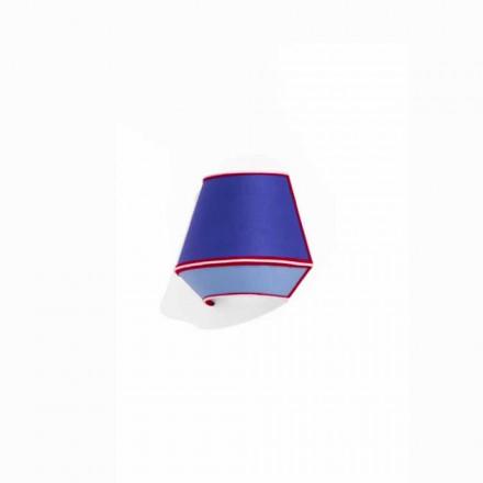 Applique design en coton bleu avec des détails rouges et blancs Fabriqué en Italie - Soja
