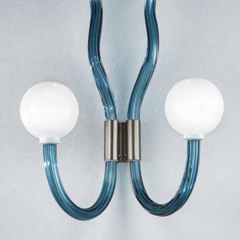 Applique en verre de Venise bleu et métal fait main en Italie - Antonietta