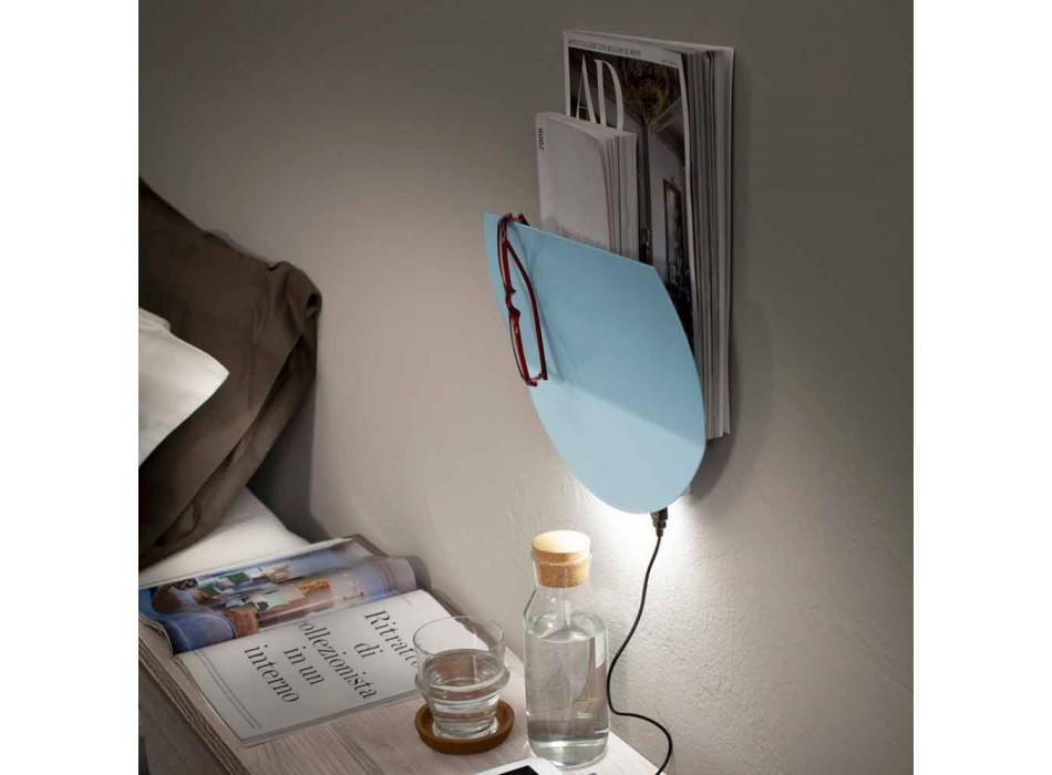 Applique murale moderne avec compartiment à revues, USB et lumière LED Made in Italy - Foster