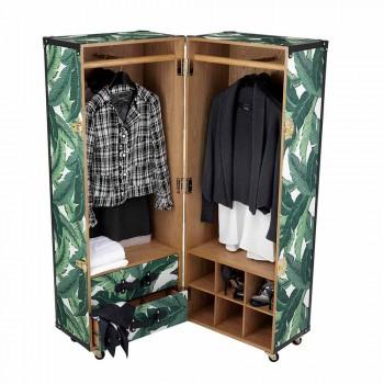 Armoire moderne à roulettes en MDF, bois plaqué et tissu - Amazonia