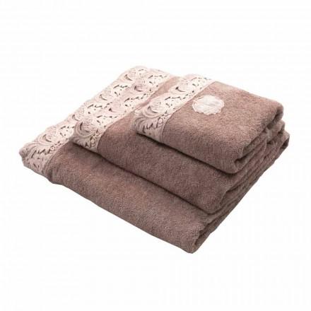 Serviettes pour le visage et les invités et serviette de bain en coton éponge et dentelle Armonia - Frollo
