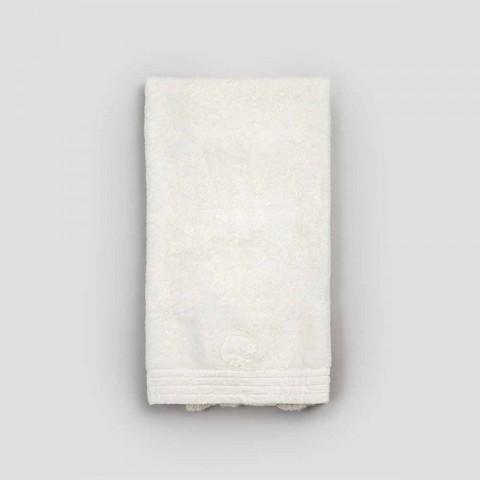 Serviette en coton éponge avec bordure en mélange de dentelle et de lin - Ginova