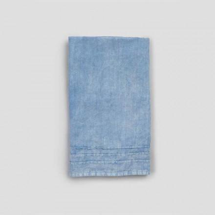 2 serviettes d'invité en lin épais bleu de design italien de luxe - Jojoba