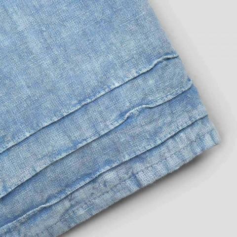 Serviette d'invité en lin épais bleu clair Design de luxe italien - Jojoba