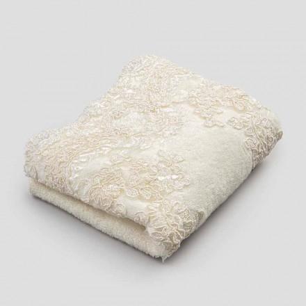 2 serviettes d'invité en éponge de coton et bord en mélange de lin en dentelle - Ginova