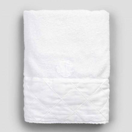 Serviette de visage en coton éponge blanc à décor géométrique - Gimmy