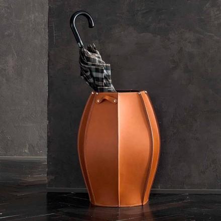 Porte-parapluie Audrey avec un design moderne en cuir, fabriqué en Italie