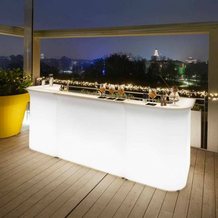 Comptoir de bar lumineux de jardin au design moderne Slide Break Line fabriqué en Italie