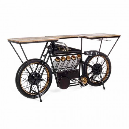 Console de design moderne en manguier et moto en acier - Échalote
