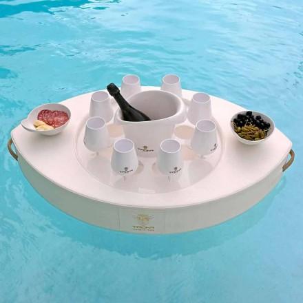 Bar flottant en écocuir blanc nautique Trona fait en Italie