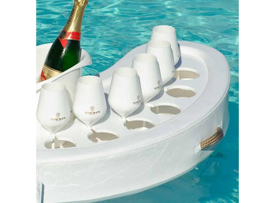Swim-up bar faux cuir blanc Trona nautique et plexi