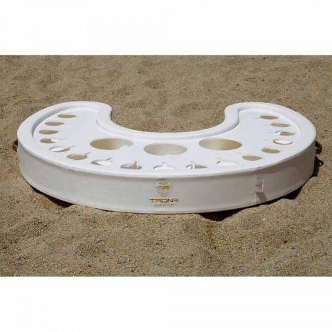 Barre flottante Trona en éco-cuir nautique blanc et plexiglas