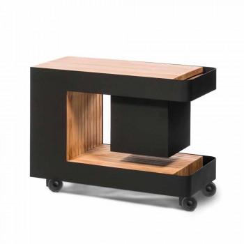 Barre mobile moderne sur roues avec table en bois et acier - Giancalliope