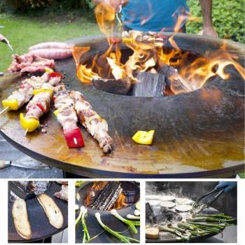 Barbecue à bois avec plaque de cuisson et compartiment à bois - Ferran