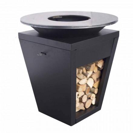 Barbecue à Bois avec Plaque de Cuisson et Rangement Bois – Ferran