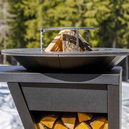 Barbecue à Bois avec Plaque de Cuisson et Rangement Bois – Giorgione