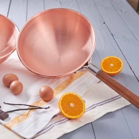 Bastardella en cuivre étamé à la main avec manche en bois 22 cm - Giampiero