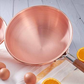 Bastardella en cuivre étamé à la main avec manche en bois 26 cm - Giampiero