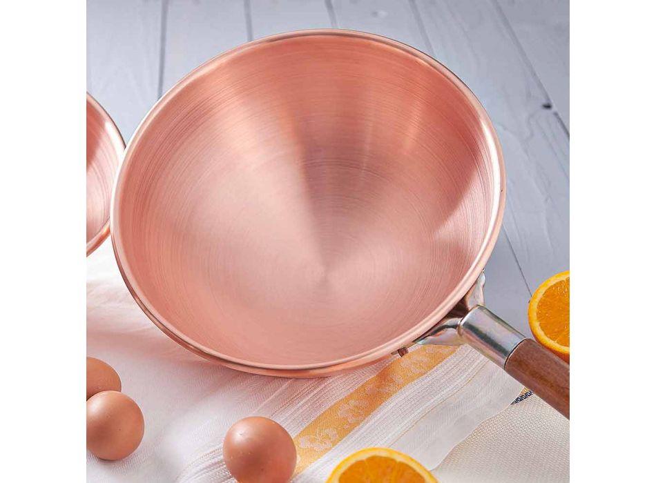 Bastardella en cuivre étamé à la main avec manche en bois 30 cm - Giampiero