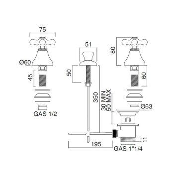 Bidet à Batterie 3 Trous Drain Livraison Interne Laiton Artisanal - Ercolina