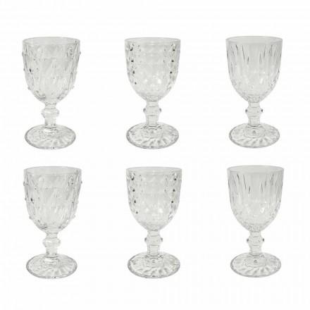 Gobelet en verre transparent avec décor en relief 12 pièces - Angers