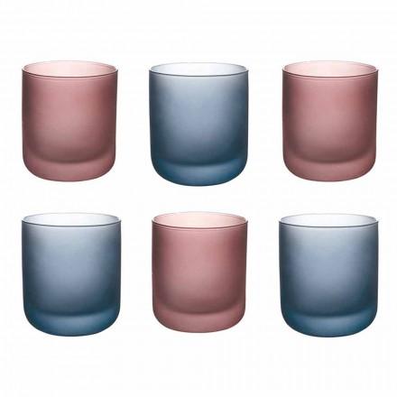 Verres à eau colorés en verre dépoli effet glace, 12 pièces - Norvegio