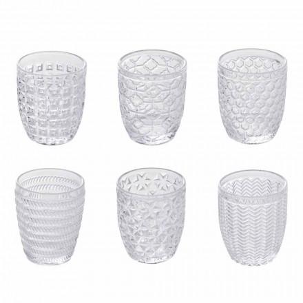 Verres à eau en verre transparent décorés, service moderne 12 pièces - mélange