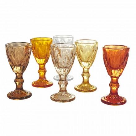 Verres à gobelet pour liqueur en verre dégradé bleu ou ambre, 12 pièces - polyèdre