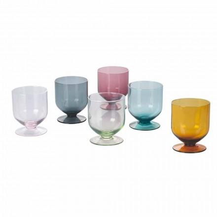 Verres colorés en verre design original, service 12 pièces - pâte