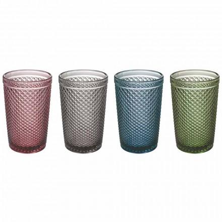 Verres à eau ou à boire en verre coloré et traité, 8 pièces - Pastille