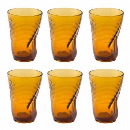 Verres à cocktail en verre coloré 12 pièces de design froissé - Sarabi
