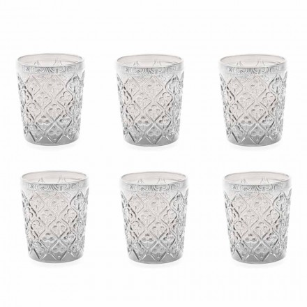 Verres en verre transparent avec décorations, service d'eau 12 pièces - Maroc