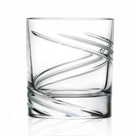 Verres à gobelet bas en cristal écologique décoré à la main, 12 pièces - Cyclone