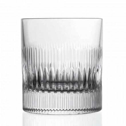 Verre à whisky et à eau en cristal 12 pièces décor de style vintage - tactile