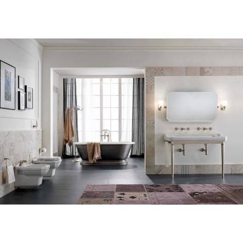 Bidet suspendu en céramique blanche de style classique, fabriqué en Italie - Nausica