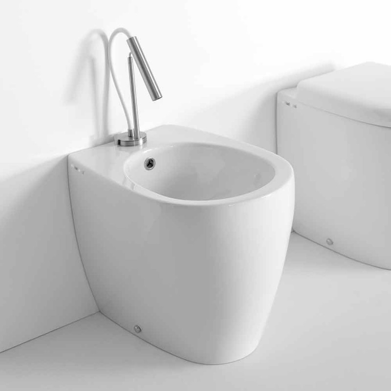 Bidet de sol au design moderne en céramique colorée Made in Italy - Lauretta