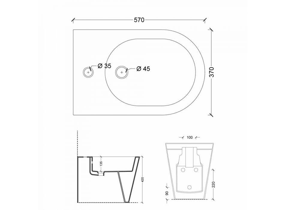 Bidet en céramique design moderne 57x37cm Soleil, fabriqué en Italie