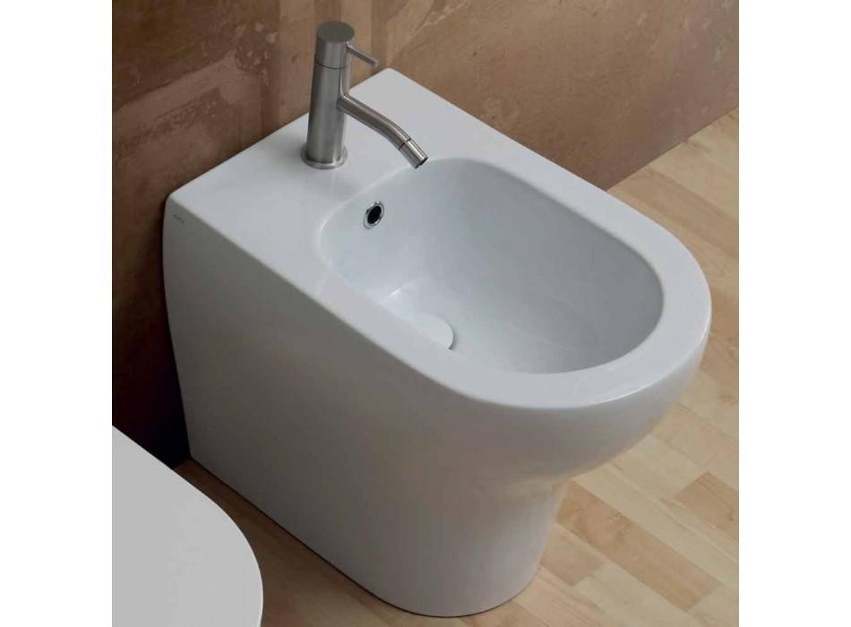 Bidet design moderne en céramique blanche 54x35 cm, fabriqué en Italie