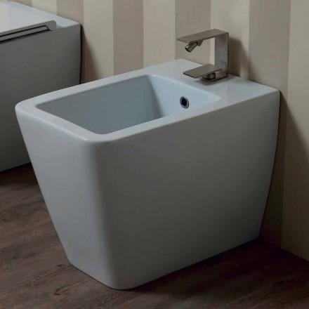 Bidet en céramique blanche au design moderne, dim. 55x35 cm, fabriqué en Italie