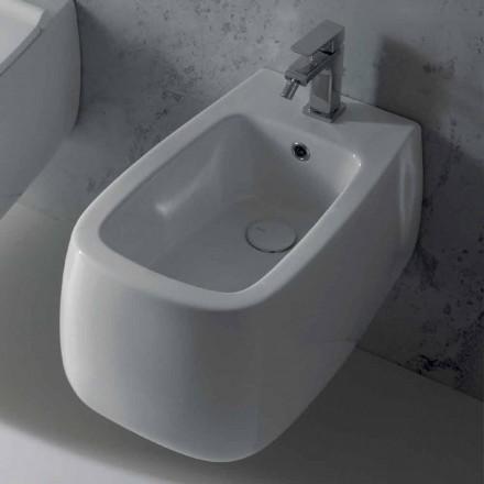 Bidet suspendu en céramique blanche Gaiola design, fabriqué en Italie