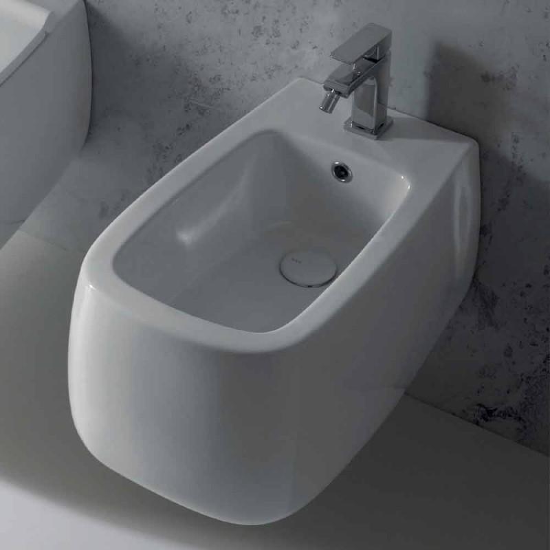 Bidet suspendu design en céramique Gaiola blanche, fabriqué en Italie