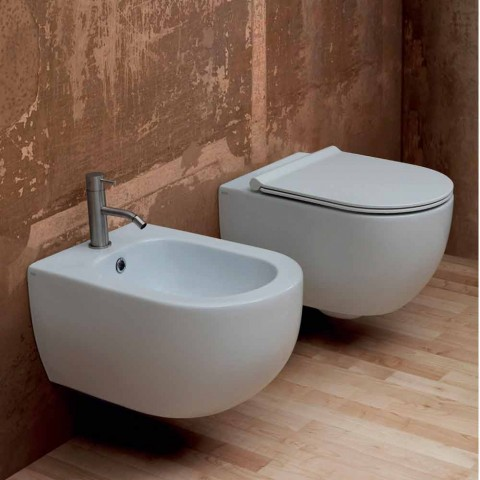 Bidet suspendu design moderne en céramique Star 55x35cm fabriqué en Italie