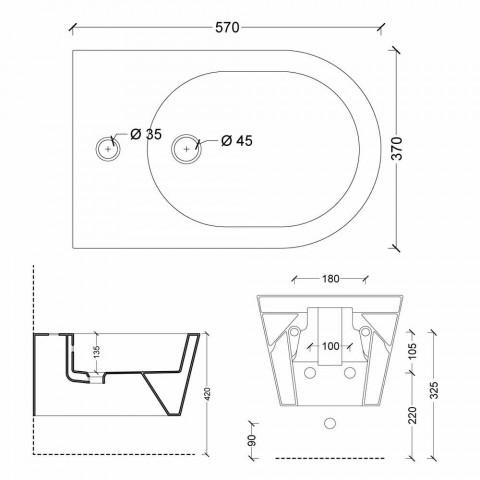 Bidet en céramique design suspendu Sun Round 57x37cm, fabriqué en Italie