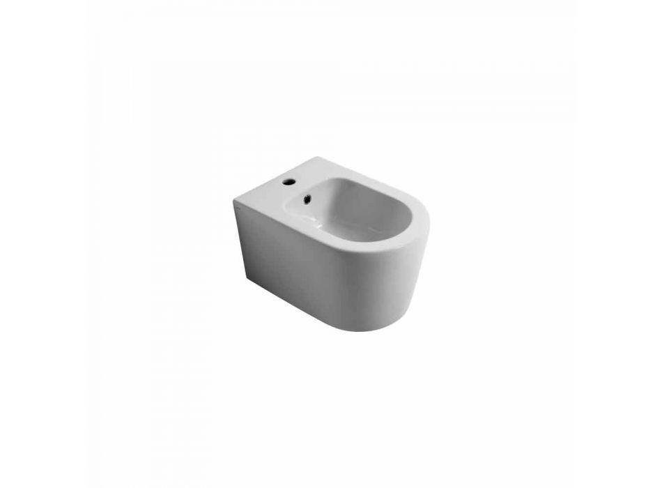 Shine Square, bidet suspendu en céramique moderne 50x35cm, fabriqué en Italie