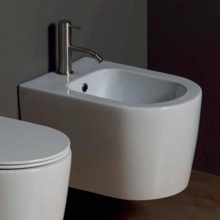 Bidet suspendu en céramique moderne Shine Square 50x35cm, fabriqué en Italie